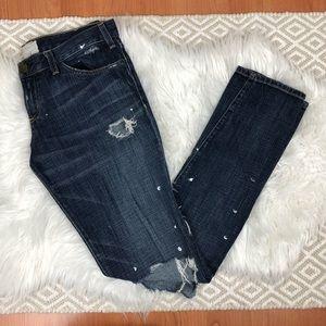 Current/Elliott The Skinny Distressed Paint Jeans